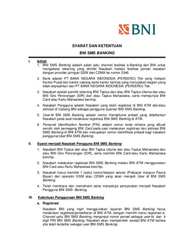 Syarat Dan Ketentuan Bni Sms Banking Updating2