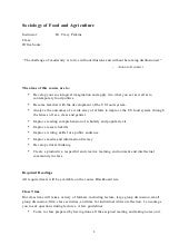 Sociology of Food and Agriculture Syllabus