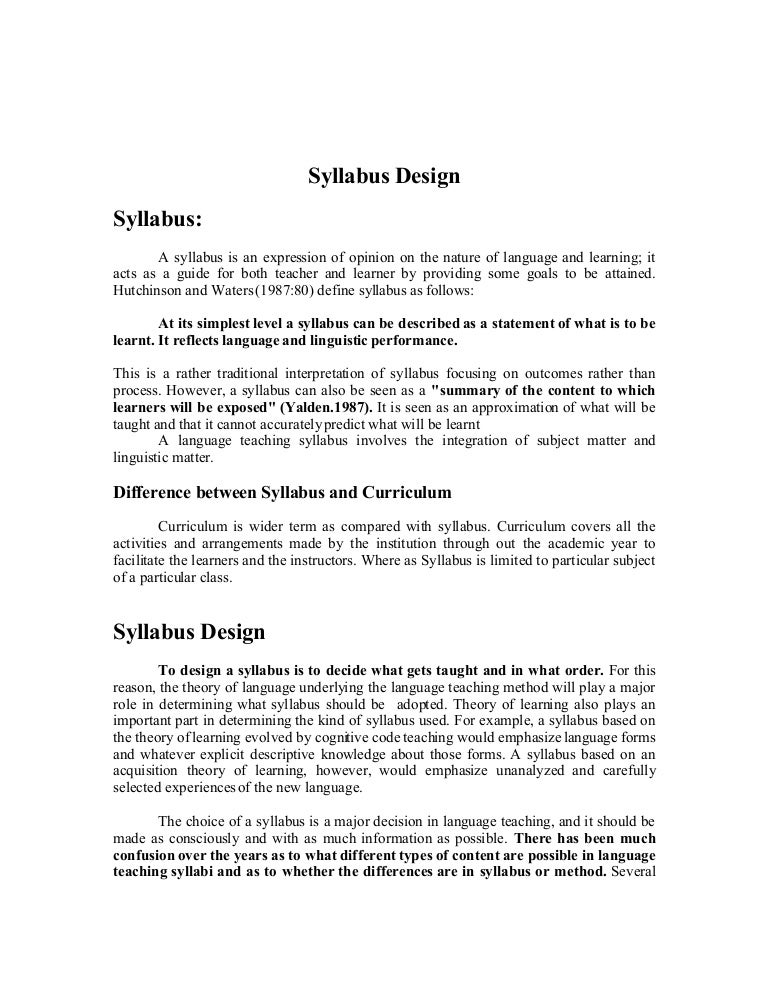 material development and syllabus design