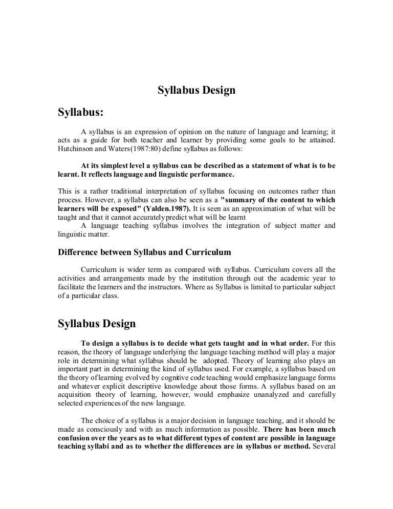 material development and syllabus design