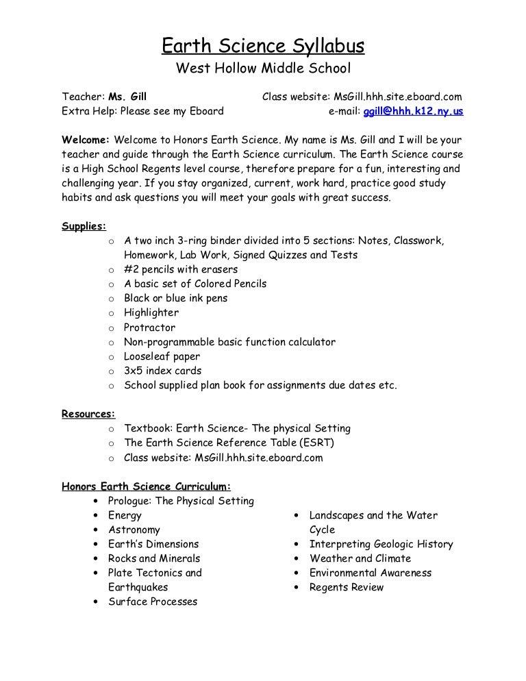 Syllabus Earth Science