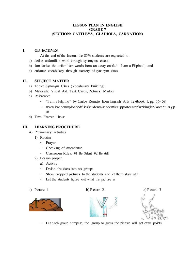 Example Lesson Plan In English For Grade 7 Philippines Detailed