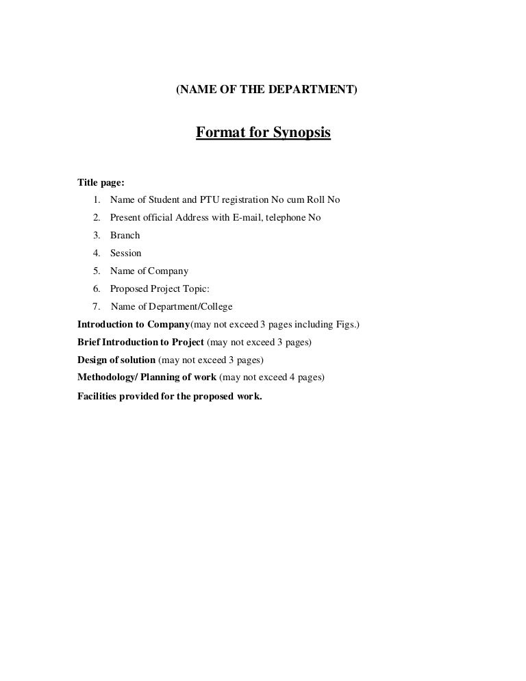 ptu thesis synopsis format