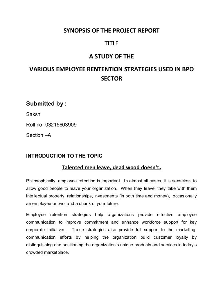 Synopsis for hr project on employee retention