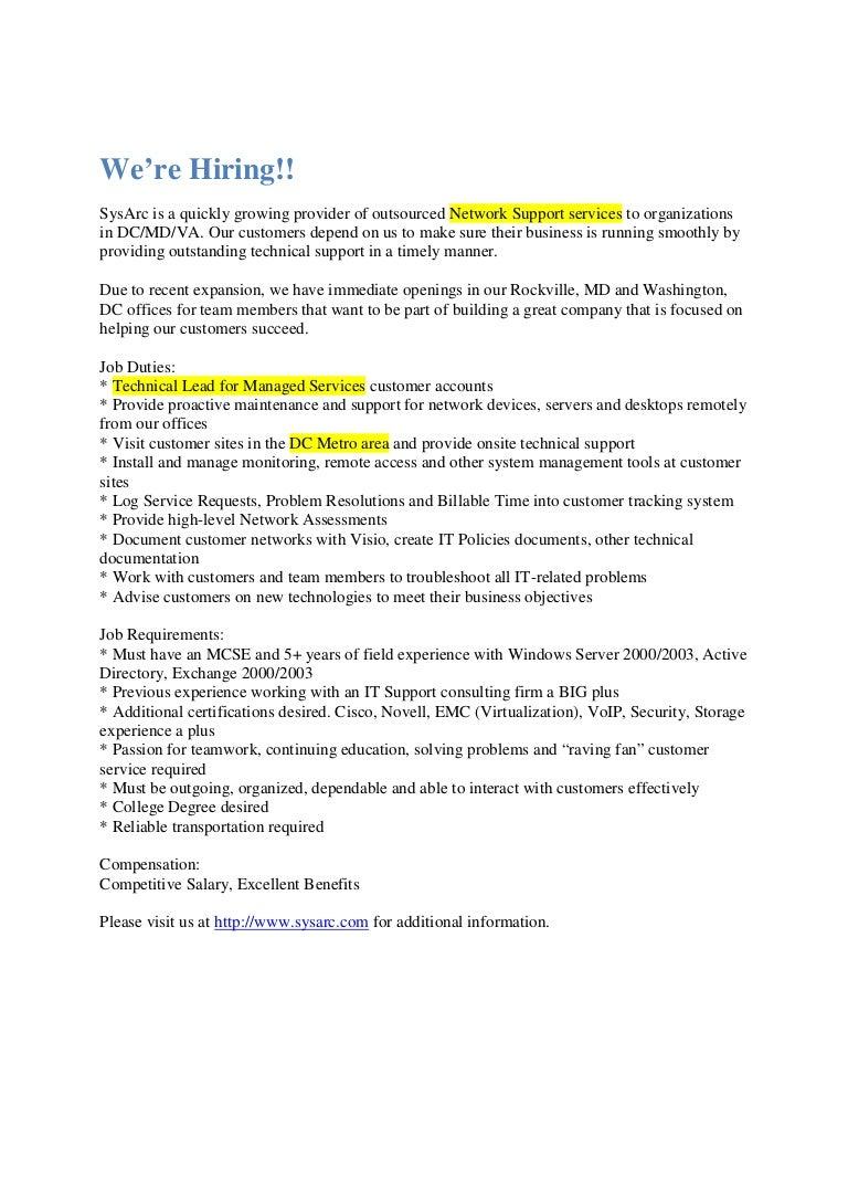 System Administrator Job Description Press Release 2 5 09