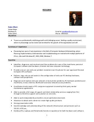 Jr systems administrator resume