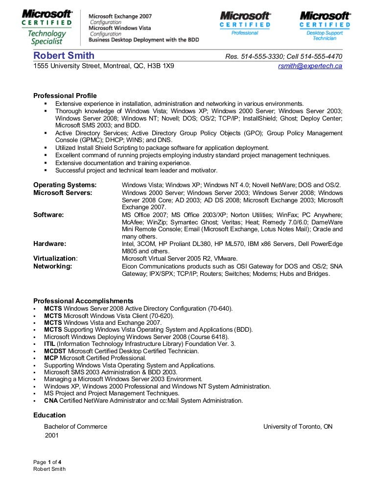 Network Administrator Profile Resume