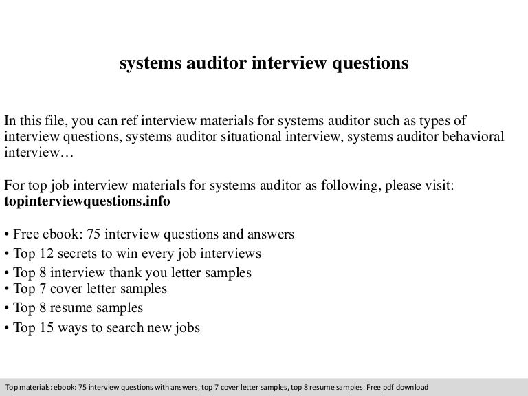 Systems auditor interview questions