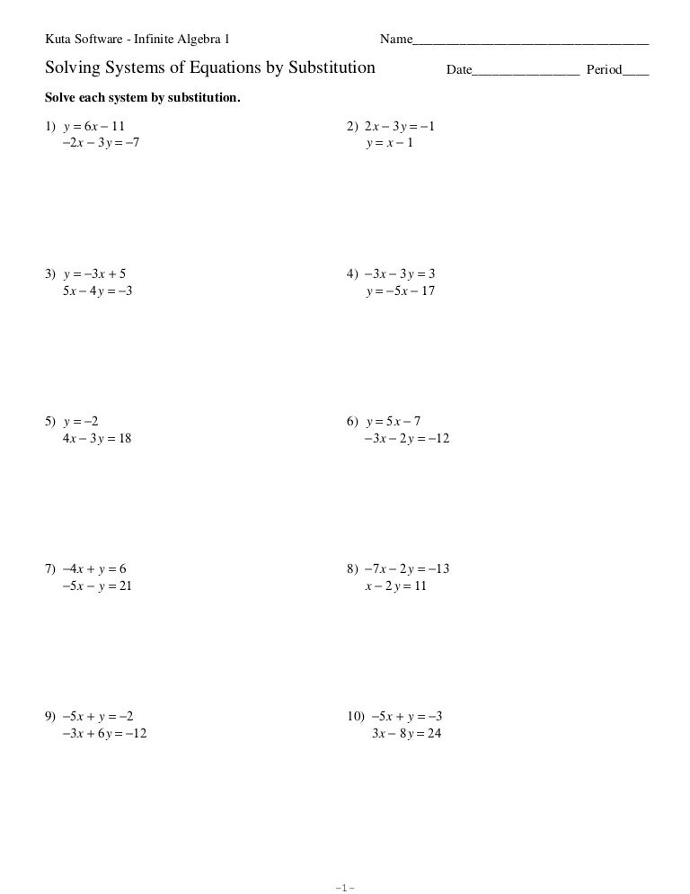 systems of equations substitution worksheet Termolak – Solving Systems Using Substitution Worksheet