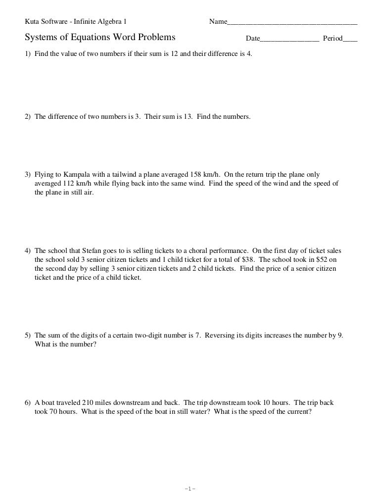 Systems of equations word problems ibookread Read Online