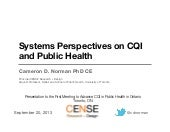 Systems Thinking in Public Health for Continuous Quality Improvement