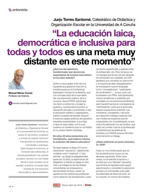 Entrevista a Jurjo Torres Santomé - TE (CCOO). Nº 365, Marzo-Abril de 2018, págs. 18 - 22