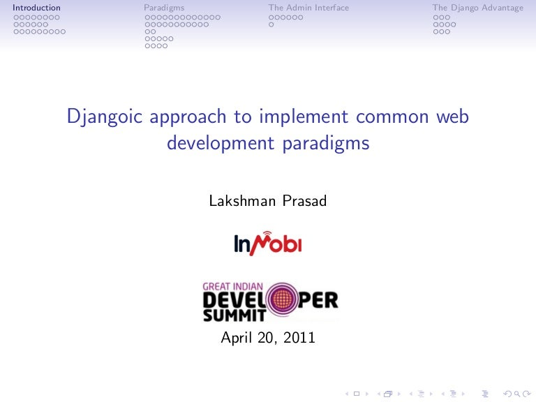 djangoic approach to implement common web development
