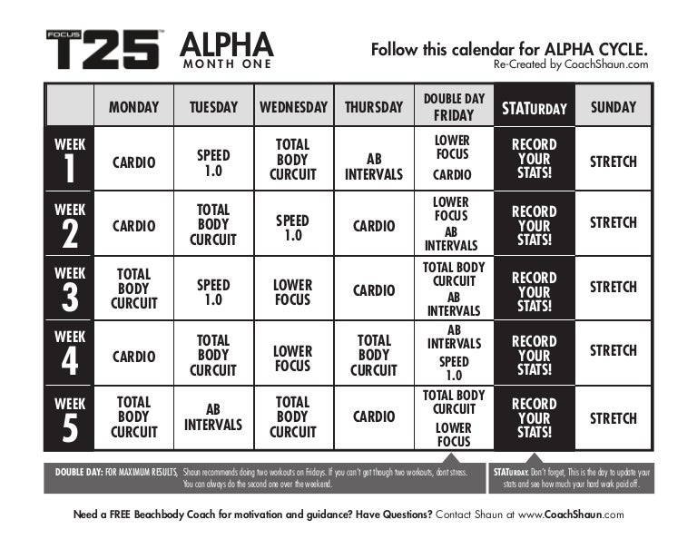 photograph regarding T25 Schedule Printable referred to as T25 calendar