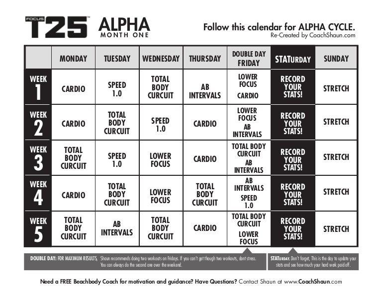 image relating to T25 Printable Calendar named T25 calendar
