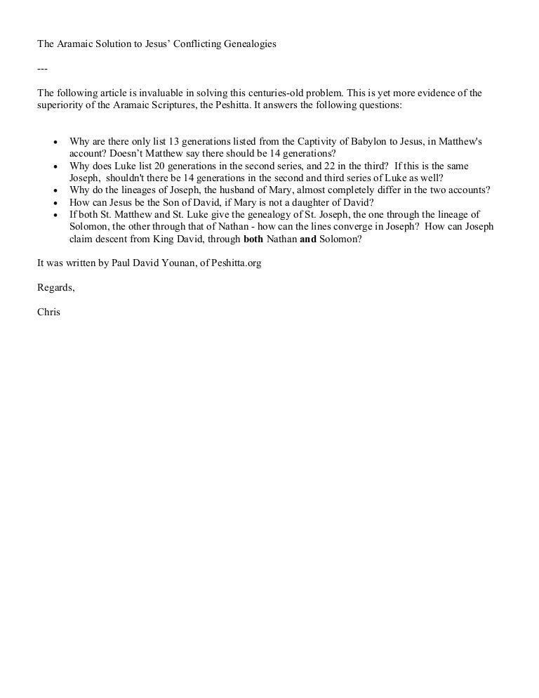Aramaic genealogy