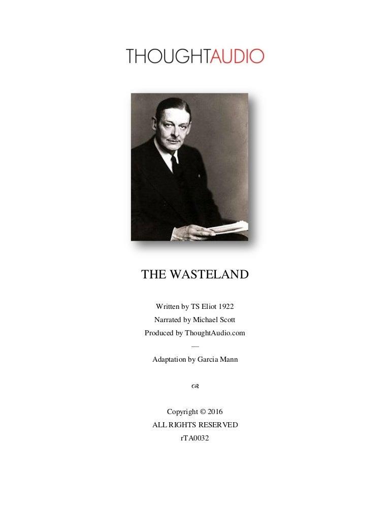 eliot t s 1922 the waste land bartlebycom - 768×994