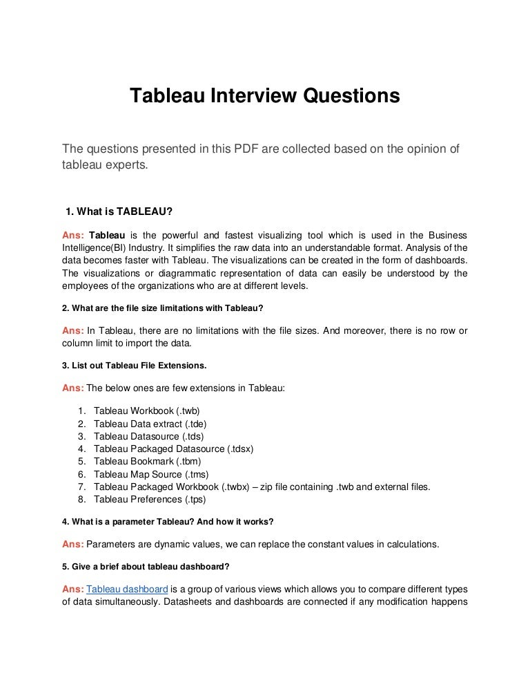 Top 30 Tableau Interview Questions