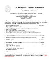VVTA Technical Advisory Committee - Meeting Agenda - May 6, 2015