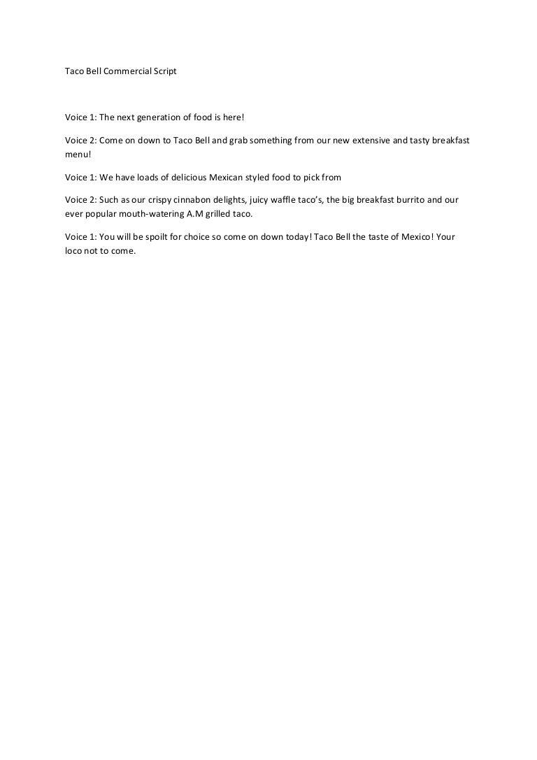 Taco bell advert 1 script