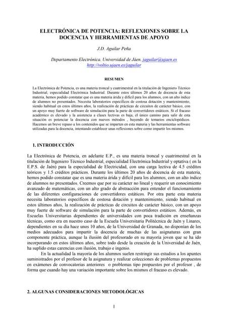 Taee2004:Electrónica de Potencia: Reflexiones sobre la docencia y herramientas de apoyo (2004)