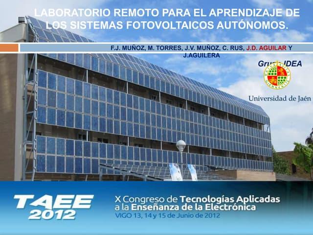 Laboratorio Remoto para el Aprendizaje de los Sistemas Fotovoltaicos Autónomos