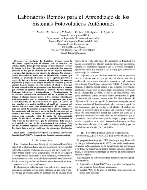 Taee2012:Laboratorio Remoto para el Aprendizaje de los Sistemas Fotovoltaicos Autónomos
