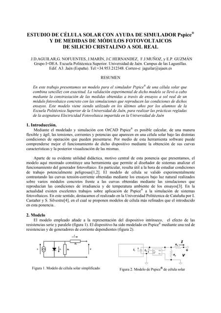 TAEE 2006: ESTUDIO DE LA  CÉLULA SOLAR CON AYUDA DE SIMULADOR PSPICE® Y DE MEDIDAS DE MÓDULOS FOTOVOLTAICOS  DE SILICIO CRISTALINO A SOL REAL