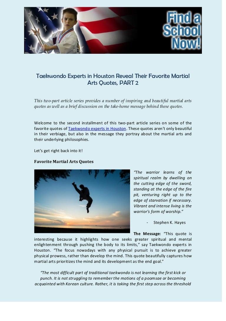Taekwondo Quotes Taekwondo Experts In Houston Reveal Their Favorite Martial Arts Quote…