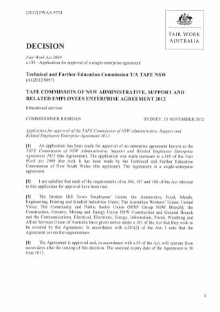 Tafe Administrative, Support And Related Employees Enterprise Agreement 2012