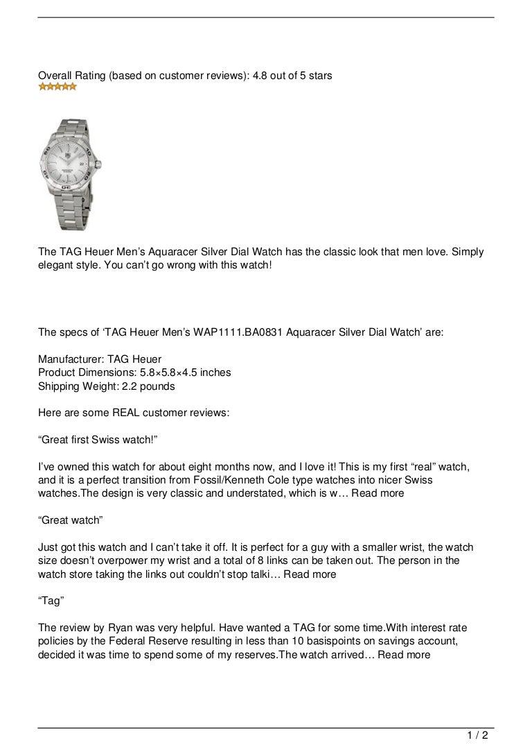 40a9daa6ce TAG Heuer Men  8217 s WAP1111.BA0831 Aquaracer Silver Dial Watch