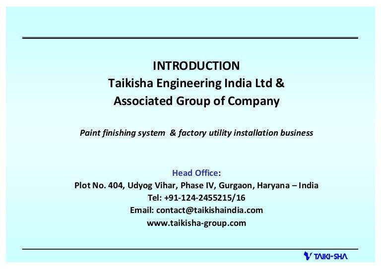 Taikisha Engineering India Limited, Gurgaon, Painting Plants And Equ…