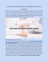 Take Care of Your Laundry by Hiring Linen Service near You