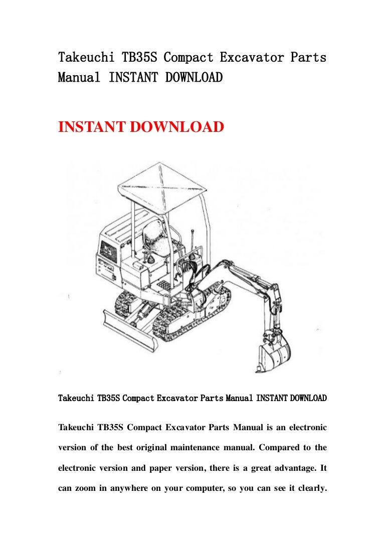Takeuchi Tb35 S Compact Excavator Parts Manual Instant Download Cpu Diagram