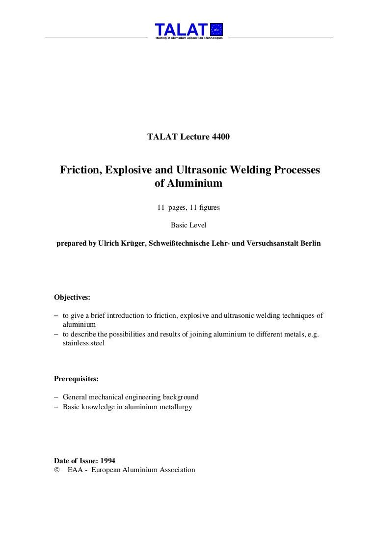 Talat Lecture 4400 Introduction To Friction Explosive And Ultrasoni Ultrasonic Welding Diagram