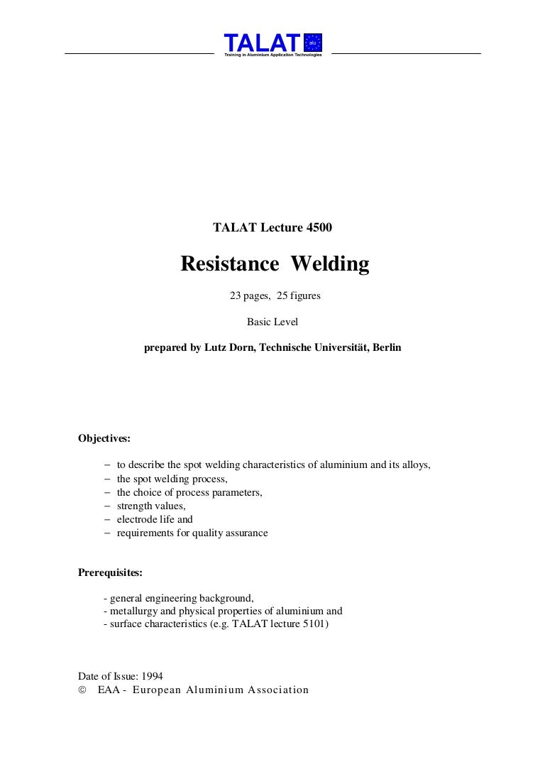 Talat Lecture 4500 Resistance Welding Block Diagram
