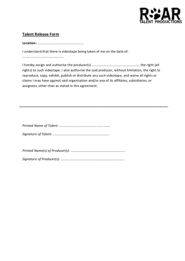Talent release form – Talent Release Form