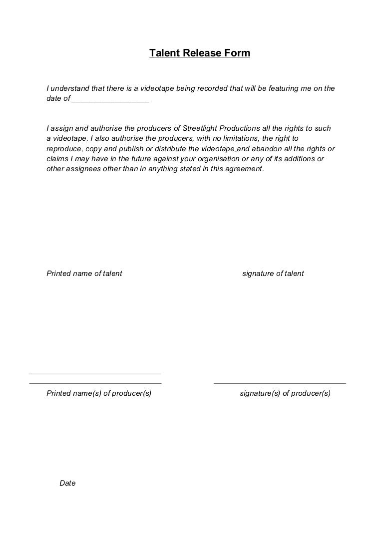 photographer release form template