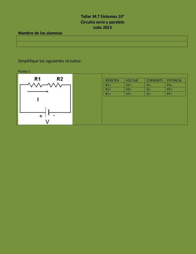 Circuito Seri E Paralelo : Taller circuito serie paralelo copia