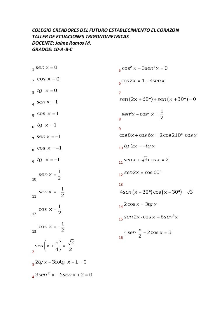 Worksheets Factoring Trinomials A 1 Worksheet Answers taller ecuaciones trigonometricas