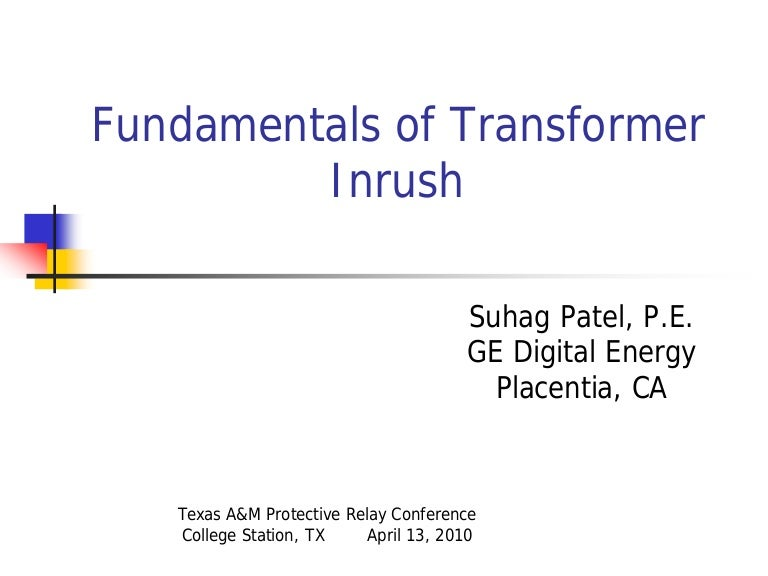 Fundamentals of transformer inrush