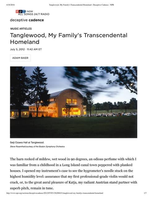 Tanglewood, My Family's Transcendental Homeland  - NPR - by Adam Baer