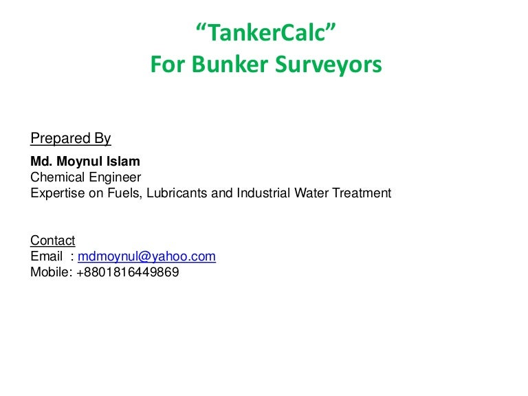 TankerCalc for Bunker Surveyors