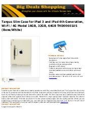 Targus slim case for i pad 3 and ipad 4th generation, wi fi   4g model 16gb, 32gb, 64gb thd00601us (bone
