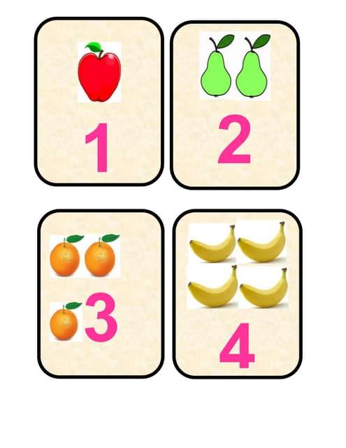 Tarjetas léxicas de relación de números