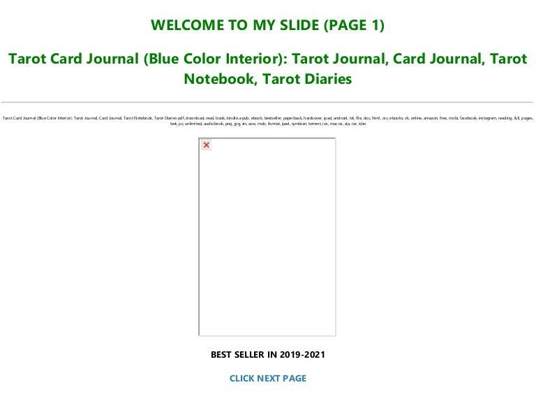 Free Download [PDF] Tarot Card Journal (Blue Color Interior): Tarot Journa…