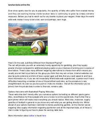 Taruhan Bola Online The New Strategy to Wager and Win
