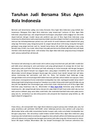 Taruhan judi bersama situs agen bola indonesia