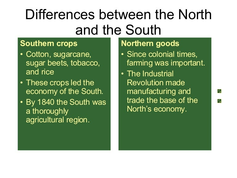 * resource differences between the north & south - My ... |Civil War North And South Differences