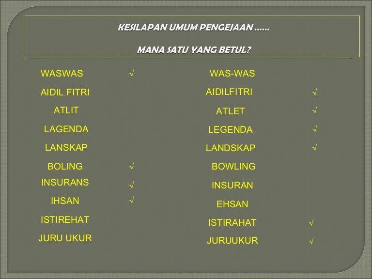 Kesalahan Umum Dalam Bahasa Melayu